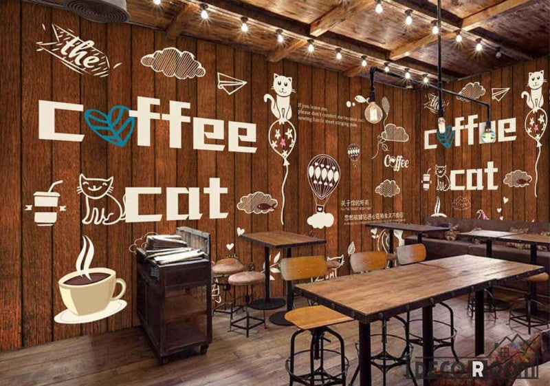 Wooden Wall Cat Coffee Bar Restaurant Art Wall Murals Wallpaper Decals Prints Decor IDCWP-JB-000904