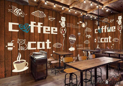 Image of Wooden Wall Cat Coffee Bar Restaurant Art Wall Murals Wallpaper Decals Prints Decor IDCWP-JB-000904