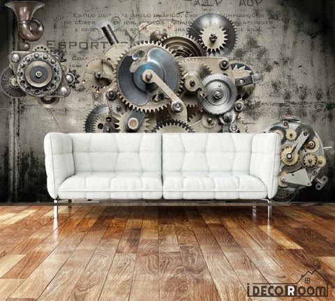Image of 3D Black Gear On Wall Living Room Art Wall Murals Wallpaper Decals Prints Decor IDCWP-JB-000910