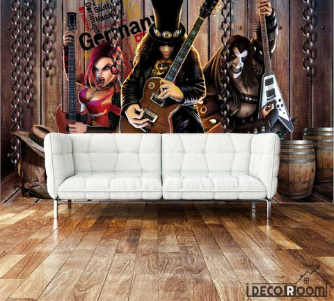 Image of 3D Cartoon Metal Rock Band Living Room Art Wall Murals Wallpaper Decals Prints Decor IDCWP-JB-000911