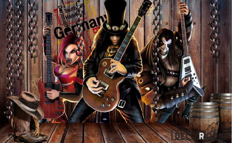 3D Cartoon Metal Rock Band Living Room Art Wall Murals Wallpaper Decals Prints Decor IDCWP-JB-000911
