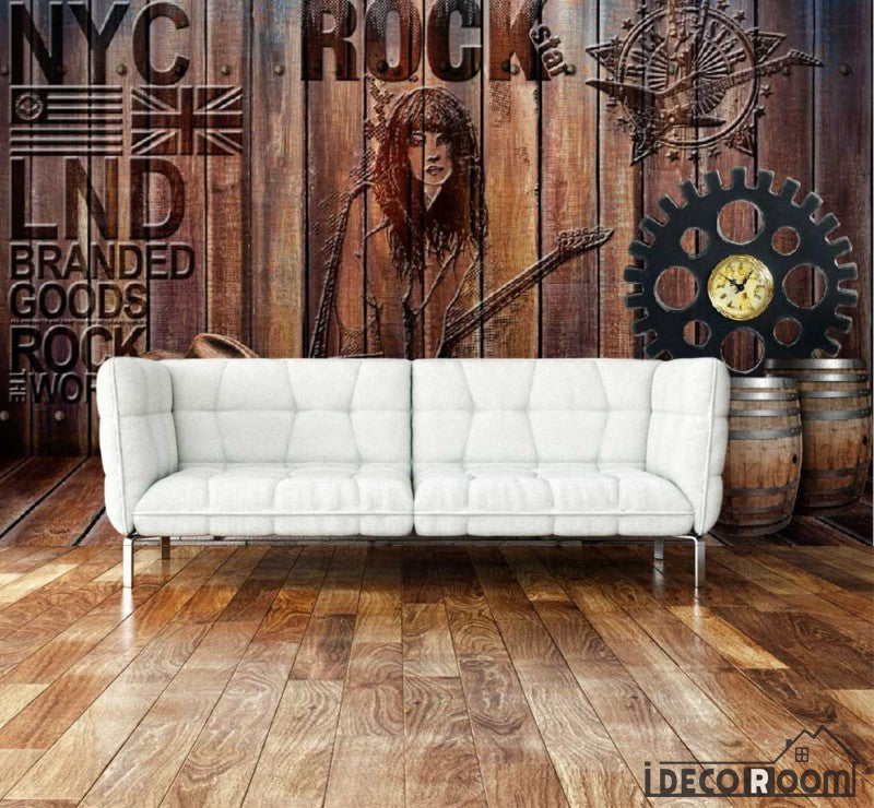 Wooden Wall Rock Nyc Letter Living Room Art Wall Murals Wallpaper Decals Prints Decor IDCWP-JB-000912