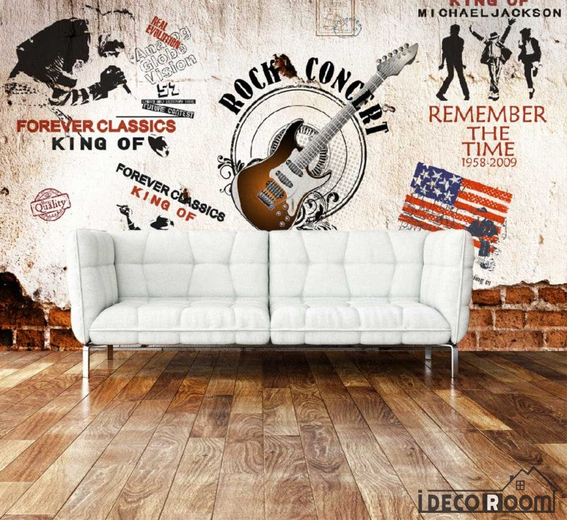 Rock Guitar Collage Wall Living Room Art Wall Murals Wallpaper Decals Prints Decor IDCWP-JB-000913
