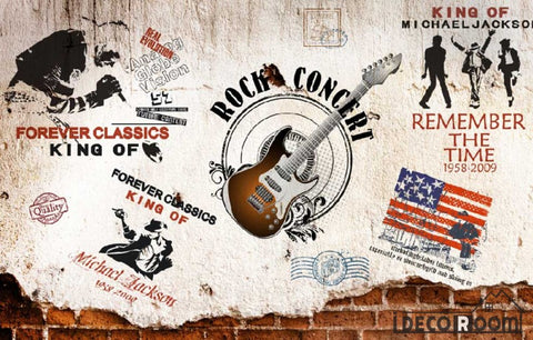 Image of Rock Guitar Collage Wall Living Room Art Wall Murals Wallpaper Decals Prints Decor IDCWP-JB-000913
