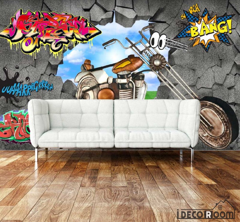 3D Graffiti Break Through Wall Motorbike Living Room Art Wall Murals Wallpaper Decals Prints Decor IDCWP-JB-000914