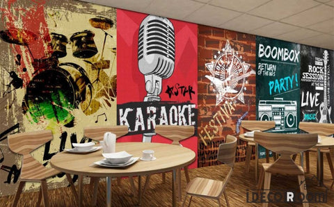Image of Poster Collage Karaoke On Wall Restaurant Coffee Shop Art Wall Murals Wallpaper Decals Prints Decor IDCWP-JB-000916