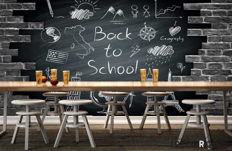 Image of Black Brick Wall Back To School Design Restaurant Coffee Shop Art Wall Murals Wallpaper Decals Prints Decor IDCWP-JB-000919