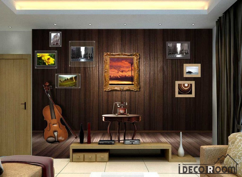 Wooden Wall 3D Frames Cello Living Room Art Wall Murals Wallpaper Decals Prints Decor IDCWP-JB-000923