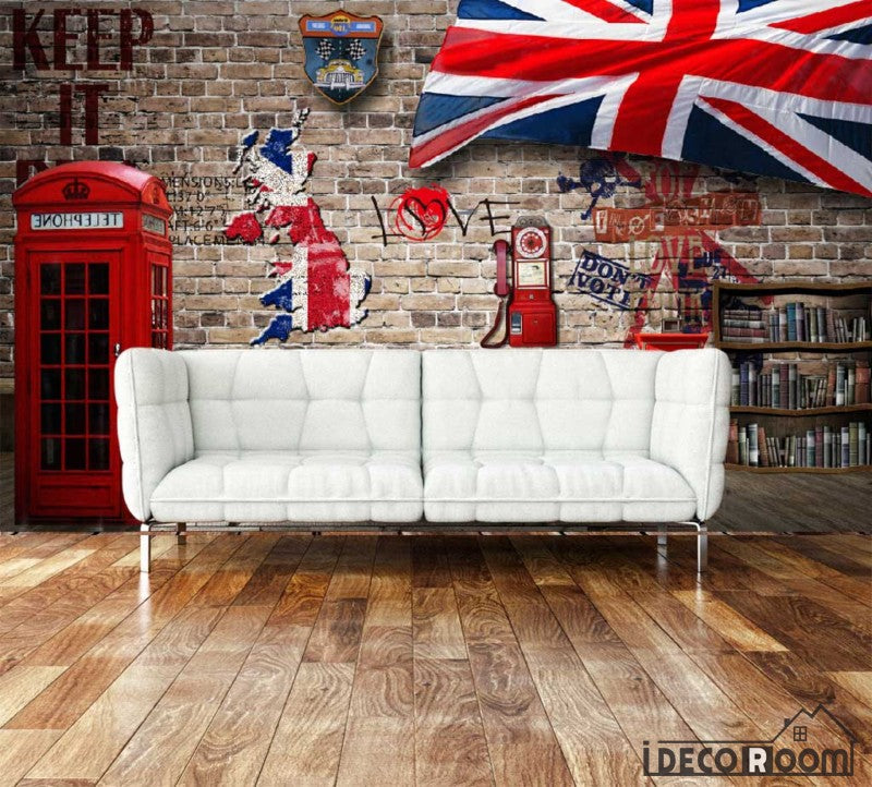 Red Brick Wall 3D Red Cabin London Flag Living Room Art Wall Murals Wallpaper Decals Prints Decor IDCWP-JB-000927