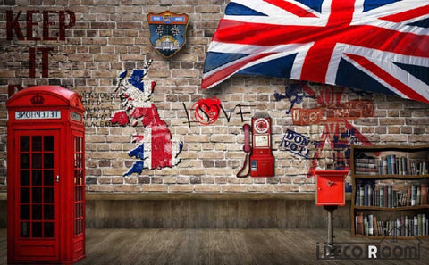 Image of Red Brick Wall 3D Red Cabin London Flag Living Room Art Wall Murals Wallpaper Decals Prints Decor IDCWP-JB-000927