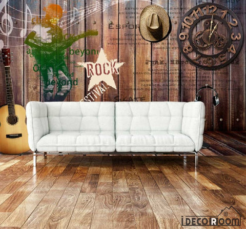 Image of Wooden Rustic Wall Rock Design Living Room Art Wall Murals Wallpaper Decals Prints Decor IDCWP-JB-000928