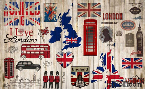 Image of Wooden Wall London Collage Red Bus Cabin Living Room Art Wall Murals Wallpaper Decals Prints Decor IDCWP-JB-000930