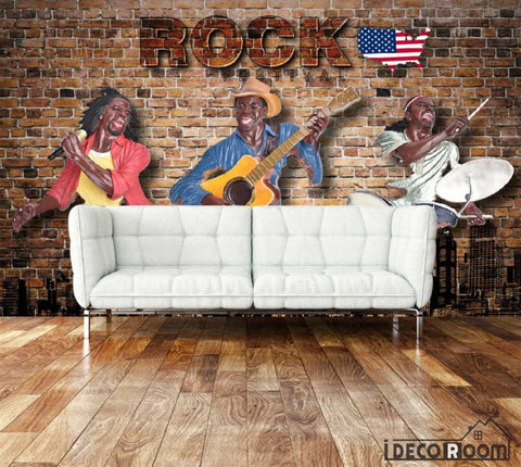 Image of Red Brick Wall 3D Drawing Rock Band Usa Living Room Art Wall Murals Wallpaper Decals Prints Decor IDCWP-JB-000937