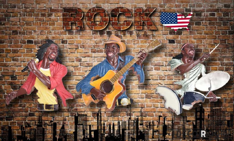 Red Brick Wall 3D Drawing Rock Band Usa Living Room Art Wall Murals Wallpaper Decals Prints Decor IDCWP-JB-000937