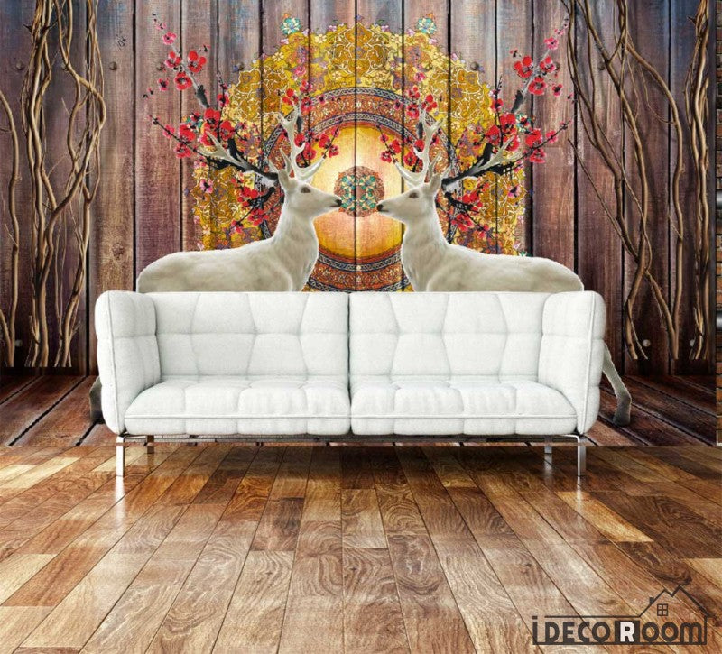 Wooden Wall Vintage Pattern White Deer Living Room Art Wall Murals Wallpaper Decals Prints Decor IDCWP-JB-000938