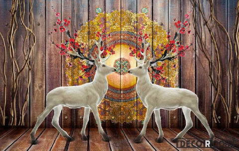 Image of Wooden Wall Vintage Pattern White Deer Living Room Art Wall Murals Wallpaper Decals Prints Decor IDCWP-JB-000938
