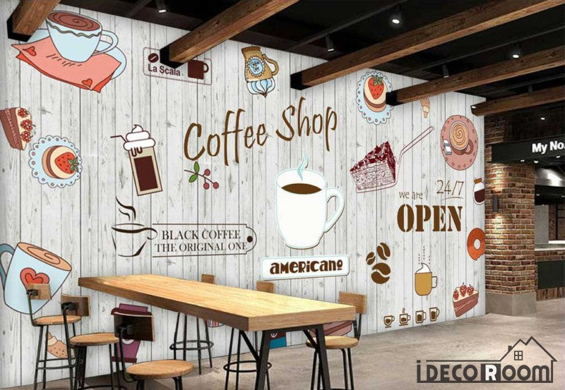 White wooden wall graphic design coffee shop restaurant for Cafe mural wallpaper