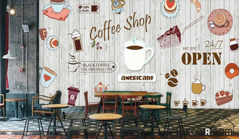 Image of White Wooden Wall Graphic Design Coffee Shop Restaurant Art Wall Murals Wallpaper Decals Prints Decor IDCWP-JB-000941