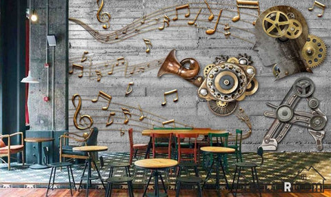 Image of 3D Golden Musical Notes Restaurant Art Wall Murals Wallpaper Decals Prints Decor IDCWP-JB-000942