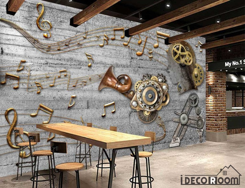 3D Golden Musical Notes Restaurant Art Wall Murals Wallpaper Decals Prints Decor IDCWP-JB-000942