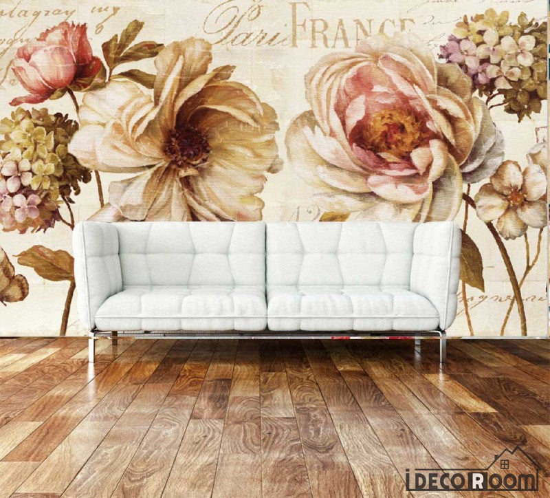 Vintage Flowers Living Room Art Wall Murals Wallpaper Decals Prints Decor IDCWP-JB-000943