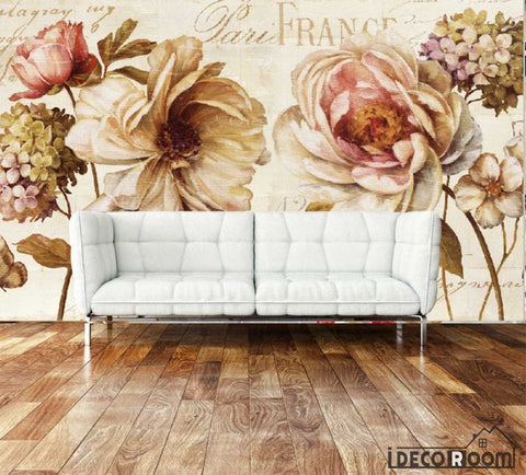 Image of Vintage Flowers Living Room Art Wall Murals Wallpaper Decals Prints Decor IDCWP-JB-000943