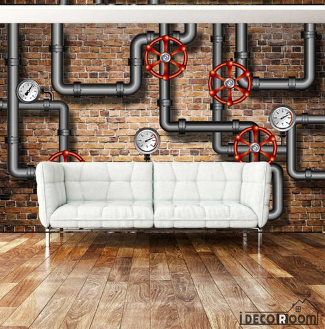 Image of Red Brick Wall 3D Black Pipes Living Room Art Wall Murals Wallpaper Decals Prints Decor IDCWP-JB-000944