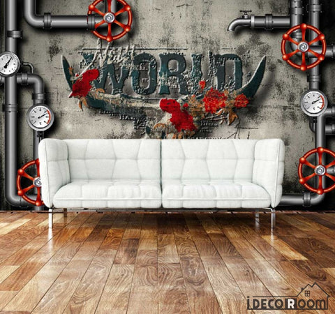 Image of Cement Wall Black Pipes Living Room Art Wall Murals Wallpaper Decals Prints Decor IDCWP-JB-000946