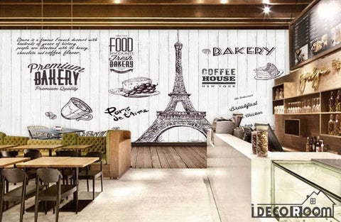 Image of White Wooden Wall Bakery Eiffel Tower Coffee Shop Restaurant Art Wall Murals Wallpaper Decals Prints Decor IDCWP-JB-000951