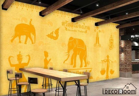 Image of Yellow Wall India Drawing Restaurant Coffee Shop Art Wall Murals Wallpaper Decals Prints Decor IDCWP-JB-000954