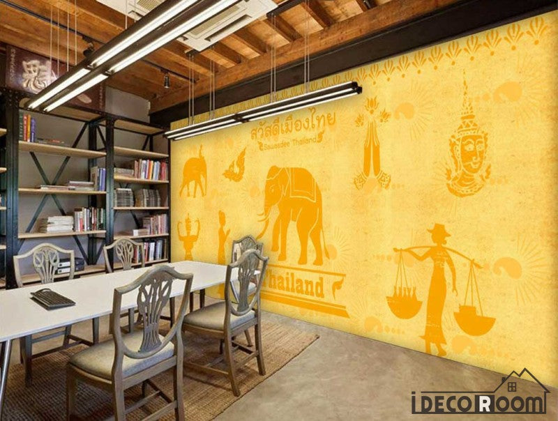 Yellow Wall India Drawing Restaurant Coffee Shop Art Wall Murals Wallpaper Decals Prints Decor IDCWP-JB-000954