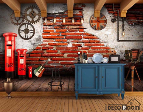Image of Old Brick Wall Gear London Red Post Restaurant Art Wall Murals Wallpaper Decals Prints Decor IDCWP-JB-000959