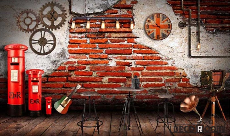 Old Brick Wall Gear London Red Post Restaurant Art Wall Murals Wallpaper Decals Prints Decor IDCWP-JB-000959