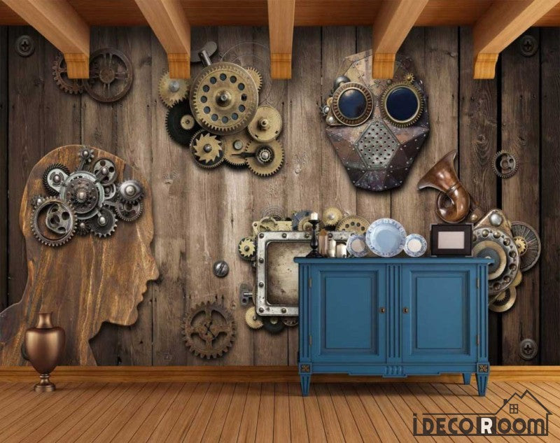 Wooden Wall 3D Gear Restaurant Art Wall Murals Wallpaper Decals Prints Decor IDCWP-JB-000960