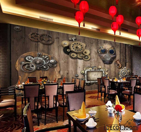 Image of Wooden Wall 3D Gear Restaurant Art Wall Murals Wallpaper Decals Prints Decor IDCWP-JB-000960