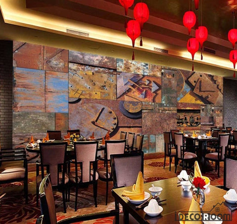 Image of Rotten Metal Blocks On Wall Restaurant Art Wall Murals Wallpaper Decals Prints Decor IDCWP-JB-000962