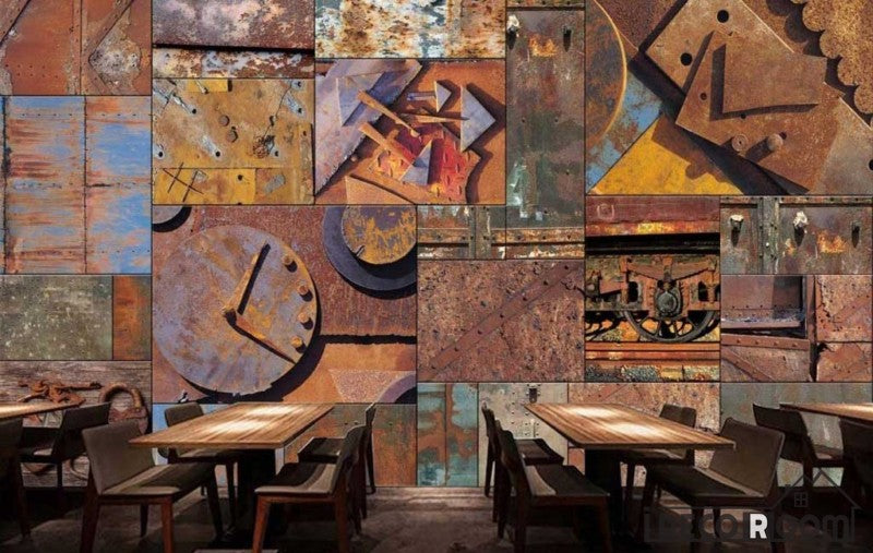Rotten Metal Blocks On Wall Restaurant Art Wall Murals Wallpaper Decals Prints Decor IDCWP-JB-000962