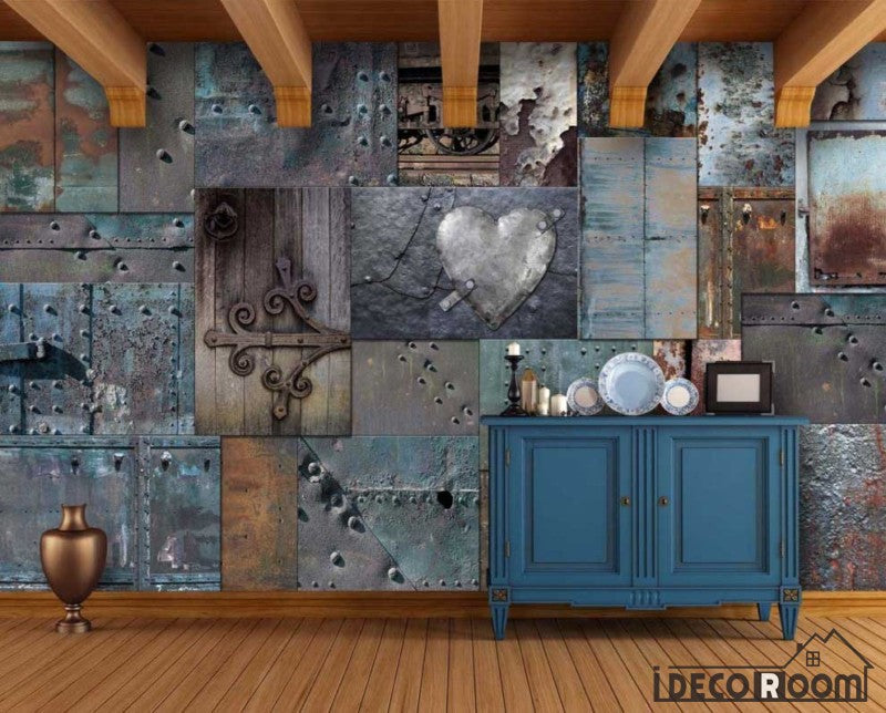 Blue Metal Blocks Heart Door Shape On Wall Restaurant Art Wall Murals Wallpaper Decals Prints Decor IDCWP-JB-000963