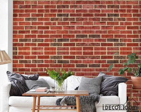 Image of Red Brick Wall Pattern Living Room Art Wall Murals Wallpaper Decals Prints Decor IDCWP-JB-000965