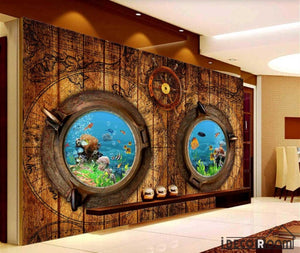 Wooden Wall 3D Aquarium Window Restaurant Art Wall Murals Wallpaper Decals Prints Decor IDCWP-JB-000966