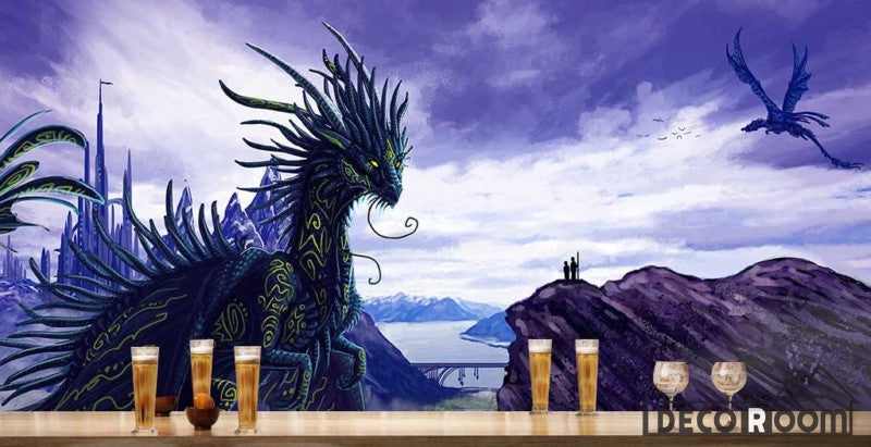Graphic Design Purple Dragon In City Restaurant Art Wall Murals Wallpaper Decals Prints Decor IDCWP-JB-000968