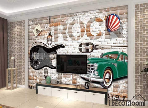 Image of White Brick Wall 3D Vintage Green Car Black Electric Guitar Rock Living Room Art Wall Murals Wallpaper Decals Prints Decor IDCWP-JB-000969