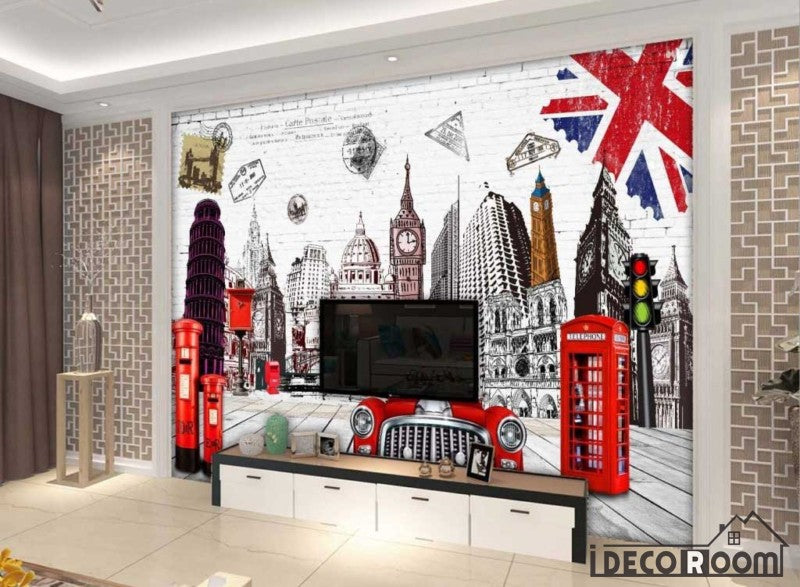 White Wall London Drawing Living Room Art Wall Murals Wallpaper Decals Prints Decor IDCWP-JB-000970