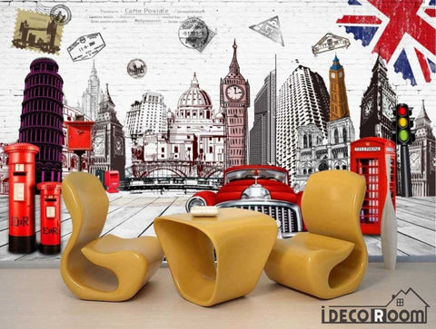 Image of White Wall London Drawing Living Room Art Wall Murals Wallpaper Decals Prints Decor IDCWP-JB-000970