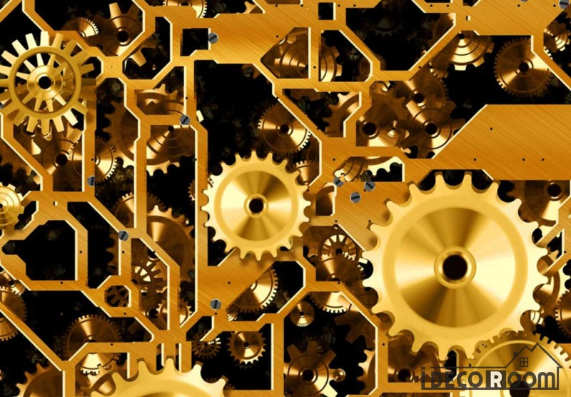 Golden Gear On Wall Living Room Art Wall Murals Wallpaper Decals ...