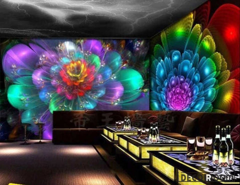 Image of Graphic Design Colorful Drawing Flower Ktv Club Art Wall Murals Wallpaper Decals Prints Decor IDCWP-JB-000974