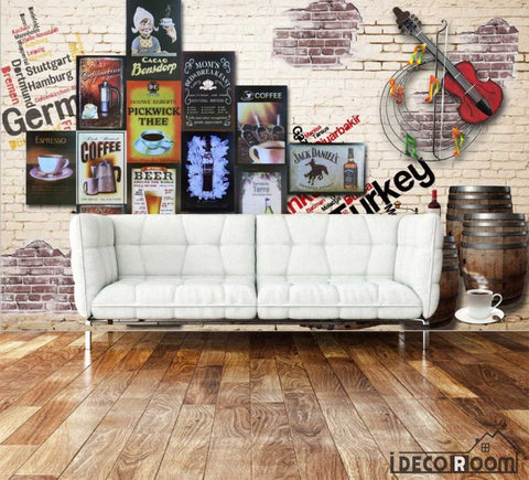 Image of White Wall 3D Poster Coffee Living Room Art Wall Murals Wallpaper Decals Prints Decor IDCWP-JB-000980