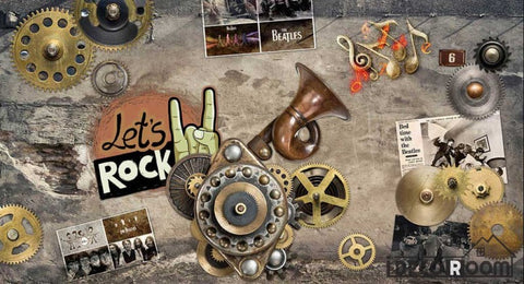 Image of Gears On Wall Rock Restaurant Art Wall Murals Wallpaper Decals Prints Decor IDCWP-JB-000981