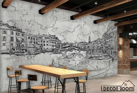 Image of Drawing Venice On Wall Restaurant Art Wall Murals Wallpaper Decals Prints Decor IDCWP-JB-000983