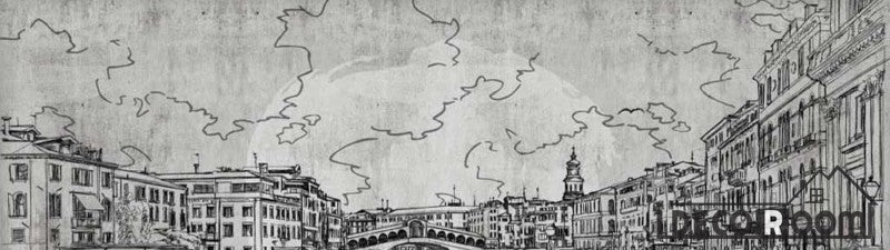 Drawing Venice On Wall Restaurant Art Wall Murals Wallpaper Decals Prints Decor IDCWP-JB-000983